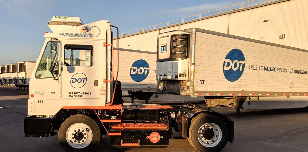 Dot Foods Orange EV Pure Electric Yard Truck