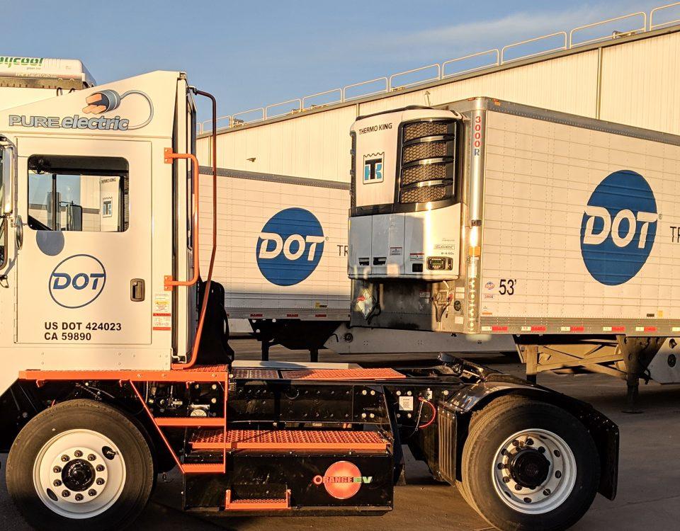 Dot Foods Orange EV Pure Electric Yard Truck