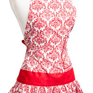 Flirty Aprons: Classic Damask Red or Black Women's Aprons- 50% Off Sale (Thru 2/09 or Until Sold Out)