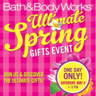 Bath & Body Works Ultimate Spring Gifts Event Today (May 4th) + FREE Fragrance Mist with Purchase