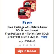 Kroger & Affiliates: FREE Package of Hillshire Farm BOLD Lunchmeat (Must Load eCoupon Today!)