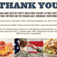 Applebee's: Free Signature Entrée for Veterans and Active Military on Veterans Day (Dine-In Only)