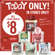 *TODAY ONLY IN-STORE DEAL* Bath & Body Works: All 3-Wick Candles Only $8 Each (Regularly $20!) + Other Deals!