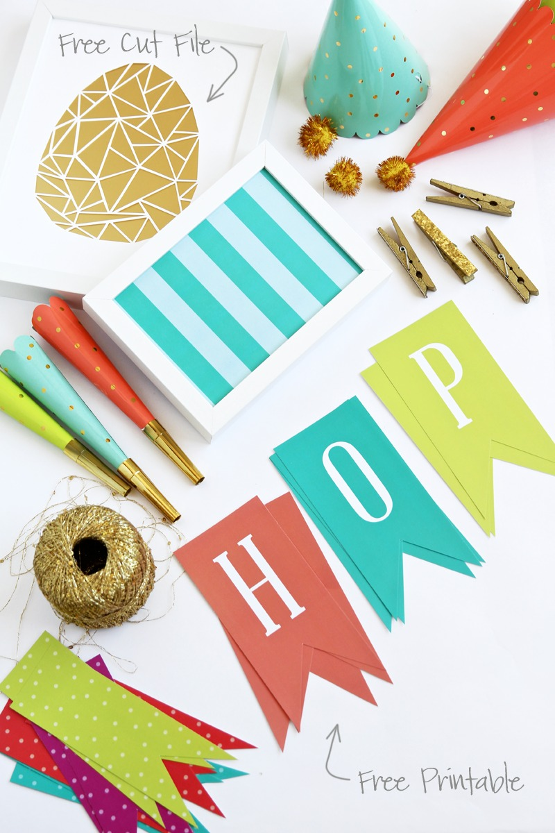 free printable Easter HOP pennant banner