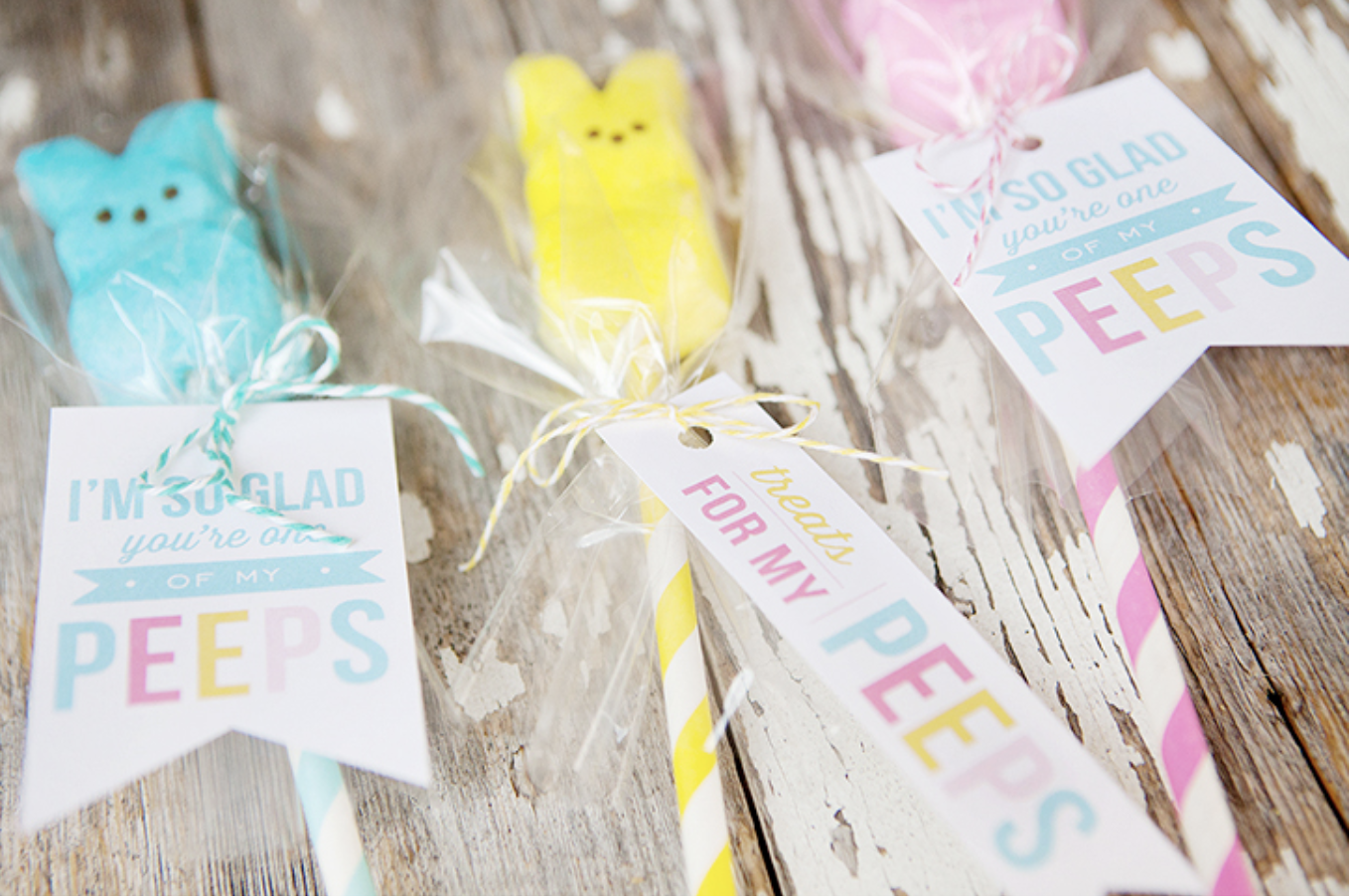 free printable Easter Peeps pops gift tags