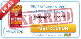 $6.44 off ground beef and 3 Classic Helper