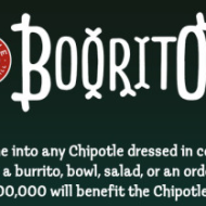 Chipotle: $3 Burrito, Bowl, Salad or Tacos On Halloween If You Come Dressed in a Costume