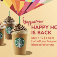 Starbucks Happy Hour: Half Off Any Frappuccino Blended Beverage (Starts 5/1)