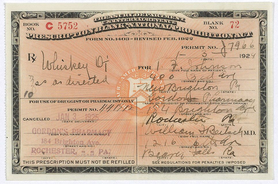 Prohibition Era Prescription for Whiskey