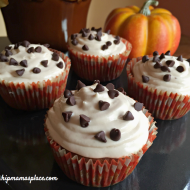 Pumpkin Spiced Chocolate Chip Marshmallow Cupcakes