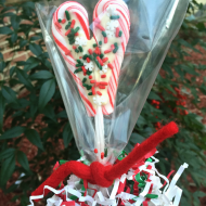 Candy Cane Heart Lollies