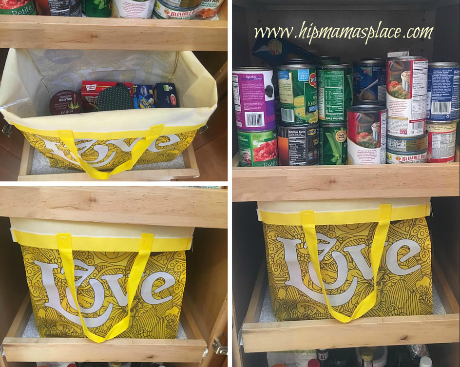 organizer tote in pantry