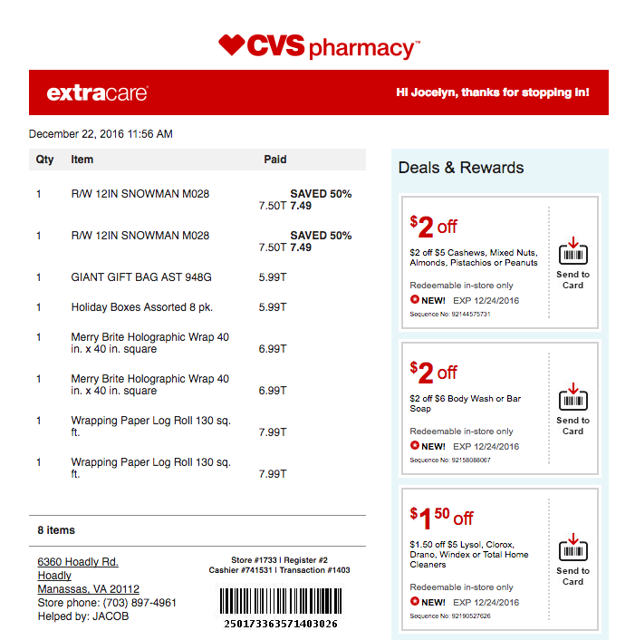 I signed up for CVS Digital Receipts and I love it!