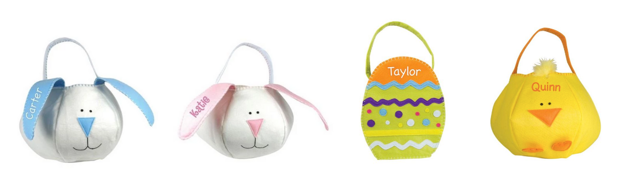 Adorable and personalized Easter baskets embroidered with your child's name!