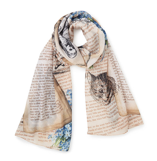 Get swept away in Alice's adventures all over again with this lighter-than-air chiffon scarf.