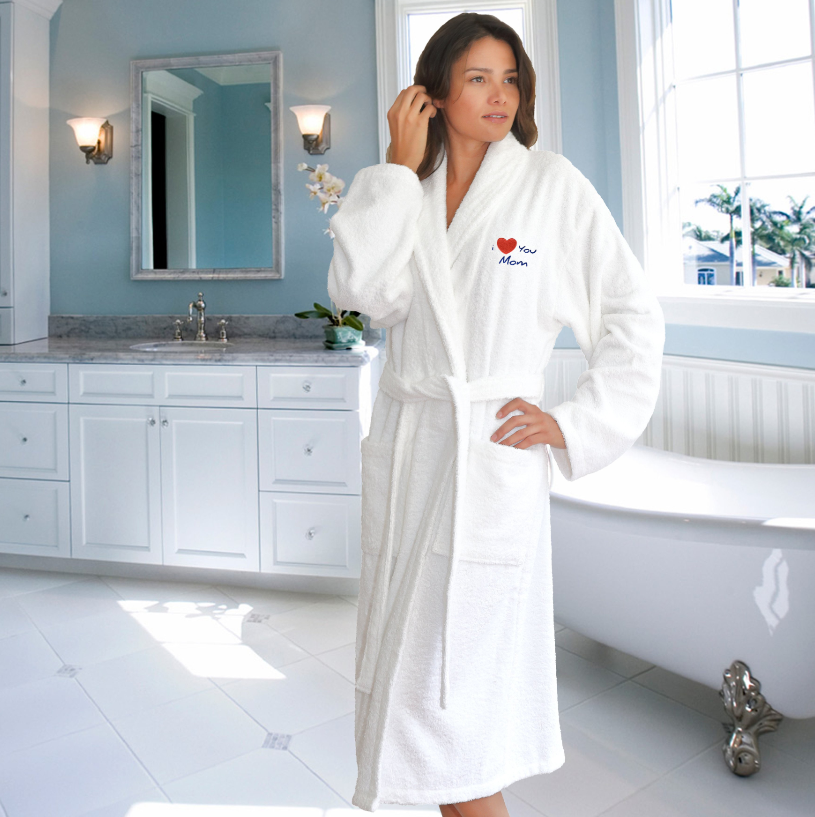 Great gift idea for Mother's Day: I Love You Mom Embroidered Terry Bathrobe!