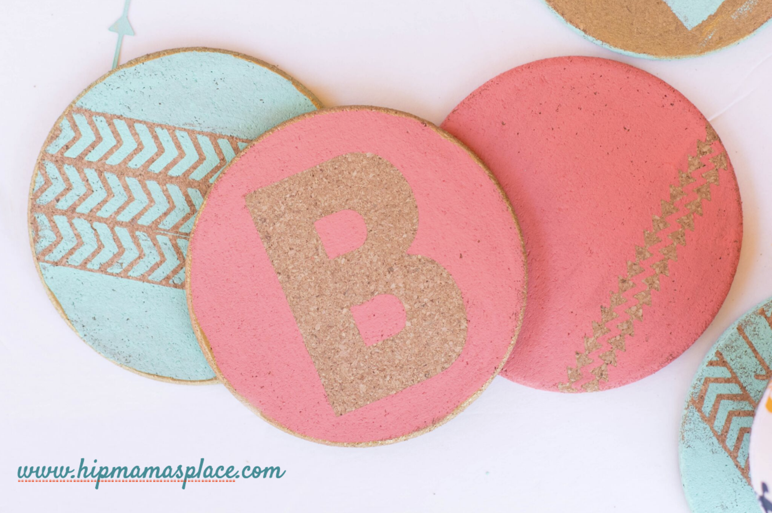 For Mother's Day, make mom a personalized cork coaster with her initials!