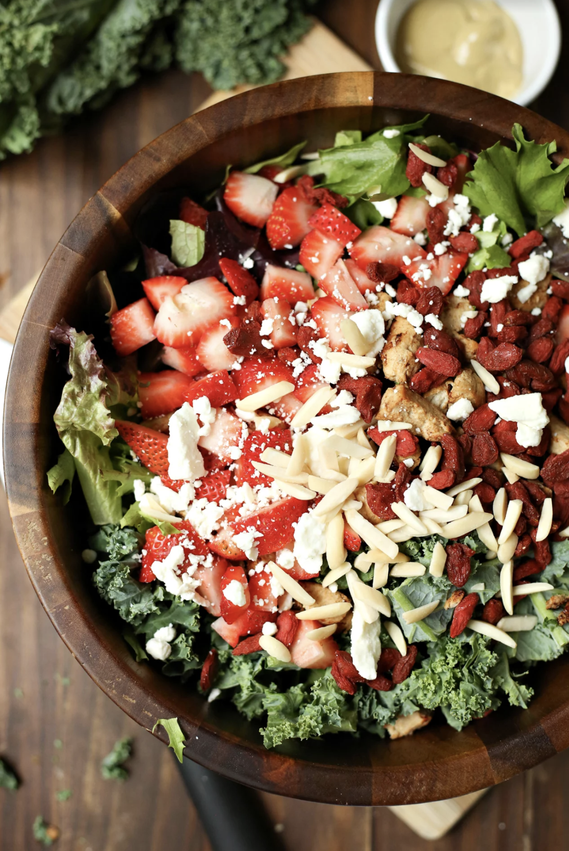 Delicious and super healthy recipe for Spring Salad with Strawberry Balsamic Dressing at www.hipmamasplace.com!