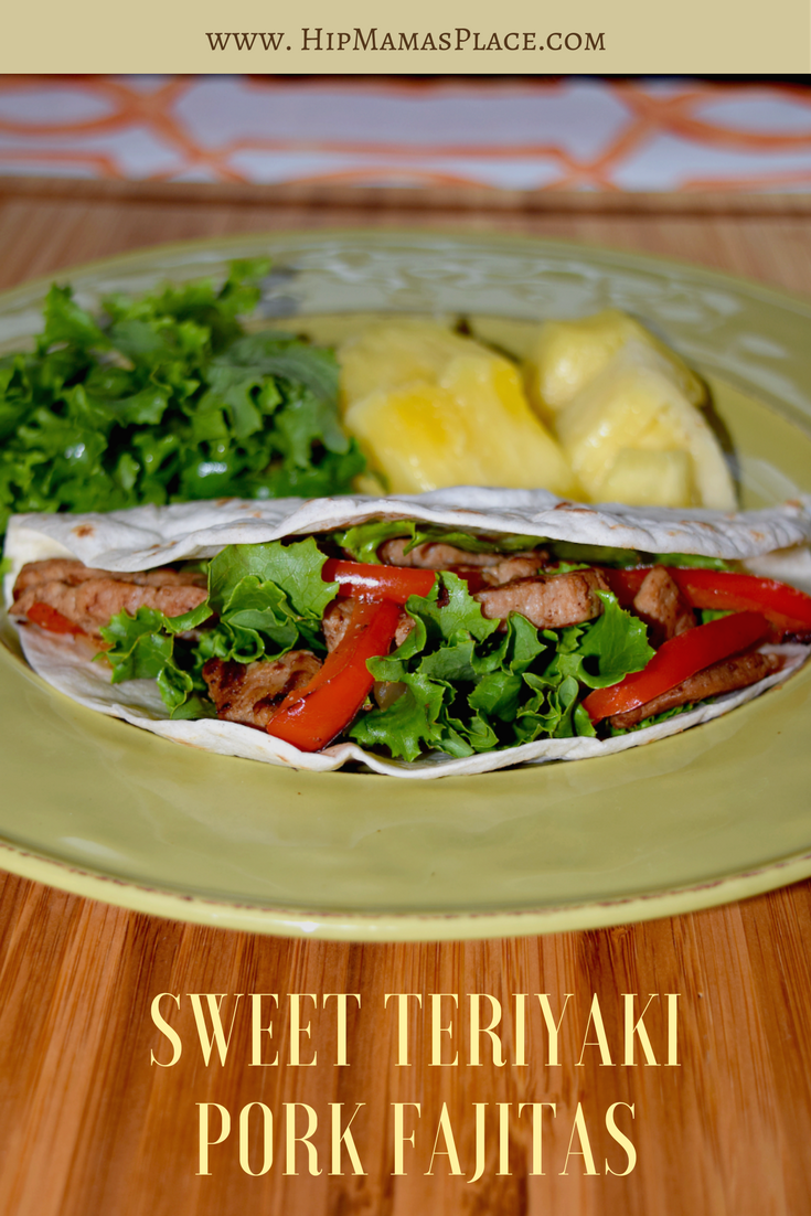 Get the recipe for delicious Sweet Teriyaki Pork Fajitas made with Smithfield Marinated Fresh Pork and natural ingredients at Hip Mama's Place!