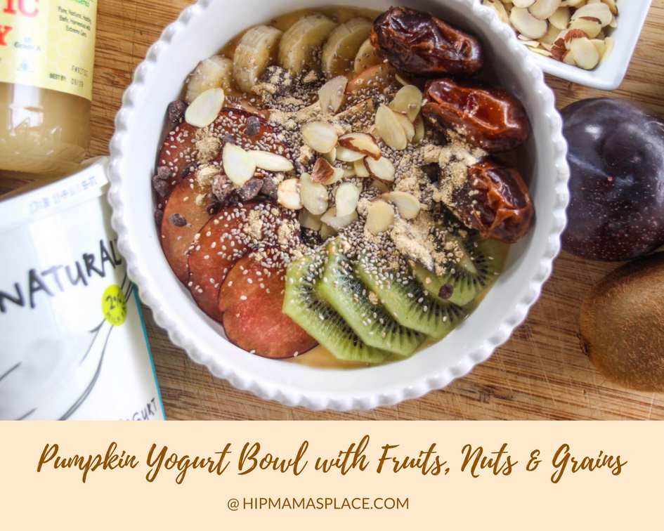 Pumpkin Yogurt Bowl with Fruits, Nuts and Grauns recipe