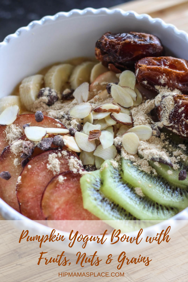 Pumpkin Yogurt Bowl with Fruits, Nuts and Grains