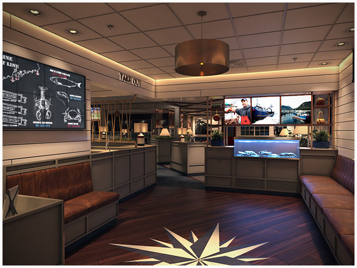 The Lobby at the newly renovated Red Lobster in Manassas (Virginia) offers a welcoming entry point featuring a nautical star and comfortable waiting area