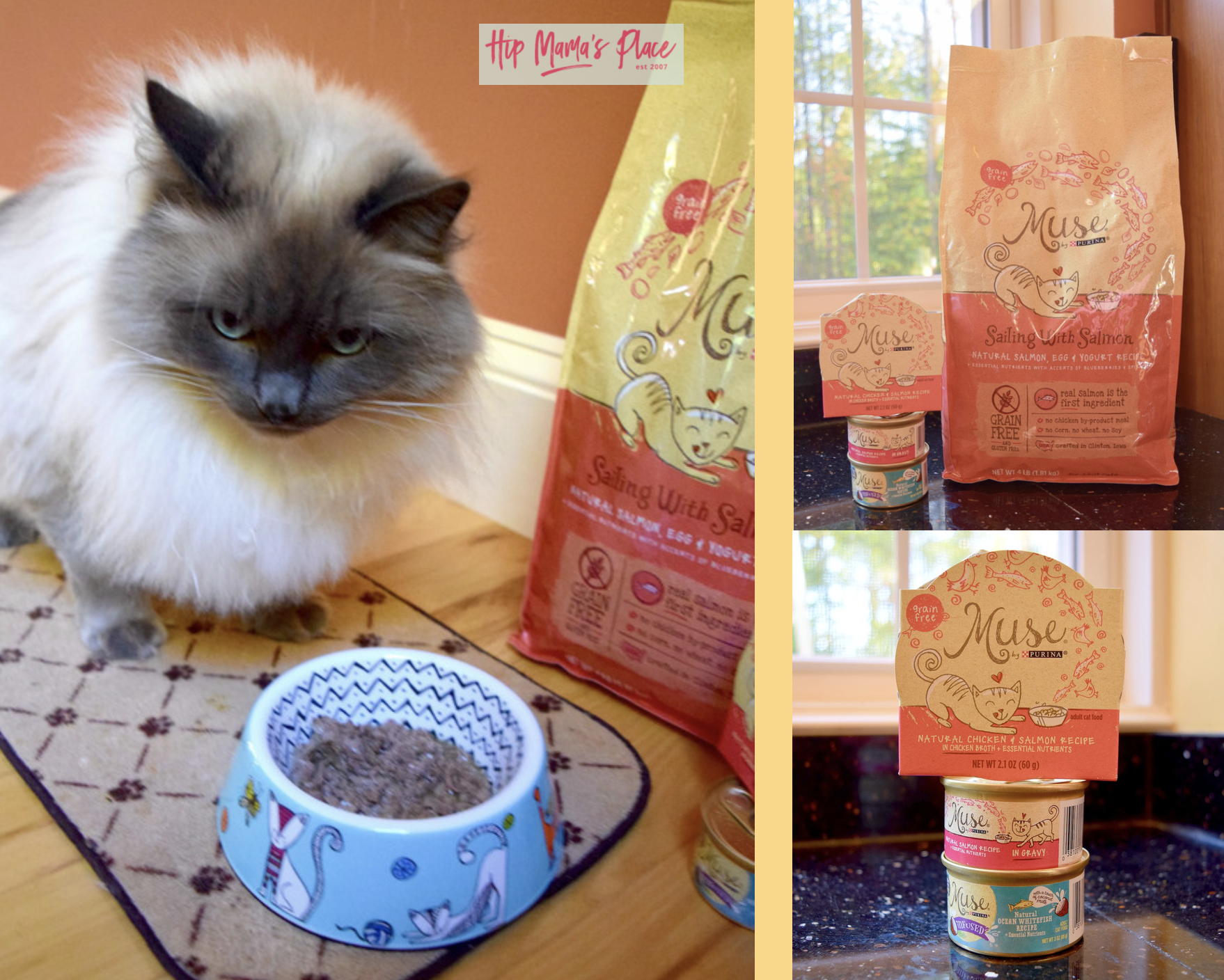 Our pet cat, Oscar, loves the new Purina Muse line of wet and dry grain-free food from Petco!