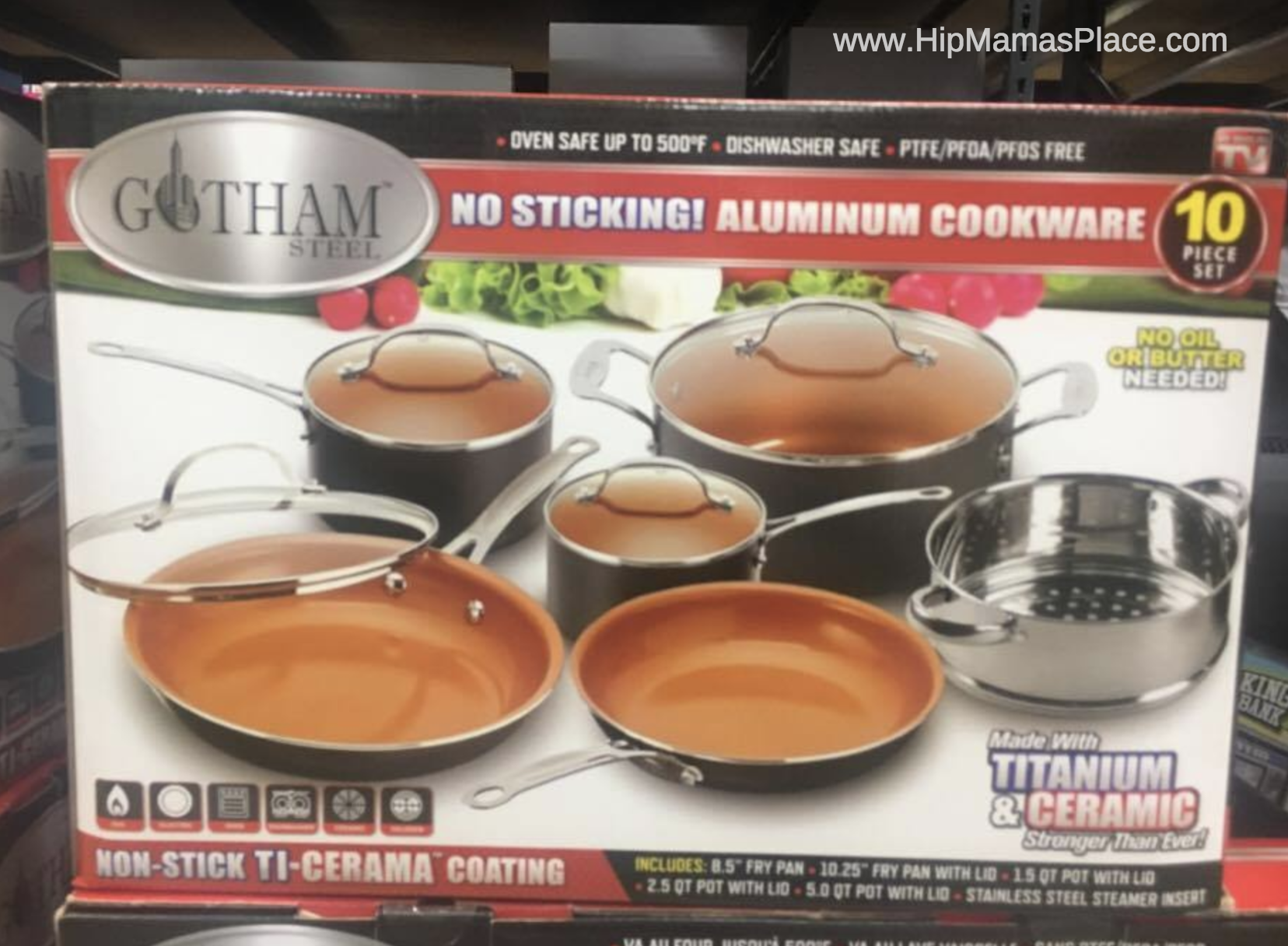This Gotham Steel 10-Pc. Aluminum Cookware Set ($89.99)– this cookware set is made with a non-stick ti-cerama coating, meaning no oil or butter is needed. You can use these pieces in gas, electric, ceramic and halogen ovens. They are dishwasher safe and PTFE-, PFOA- and PFOS-free.