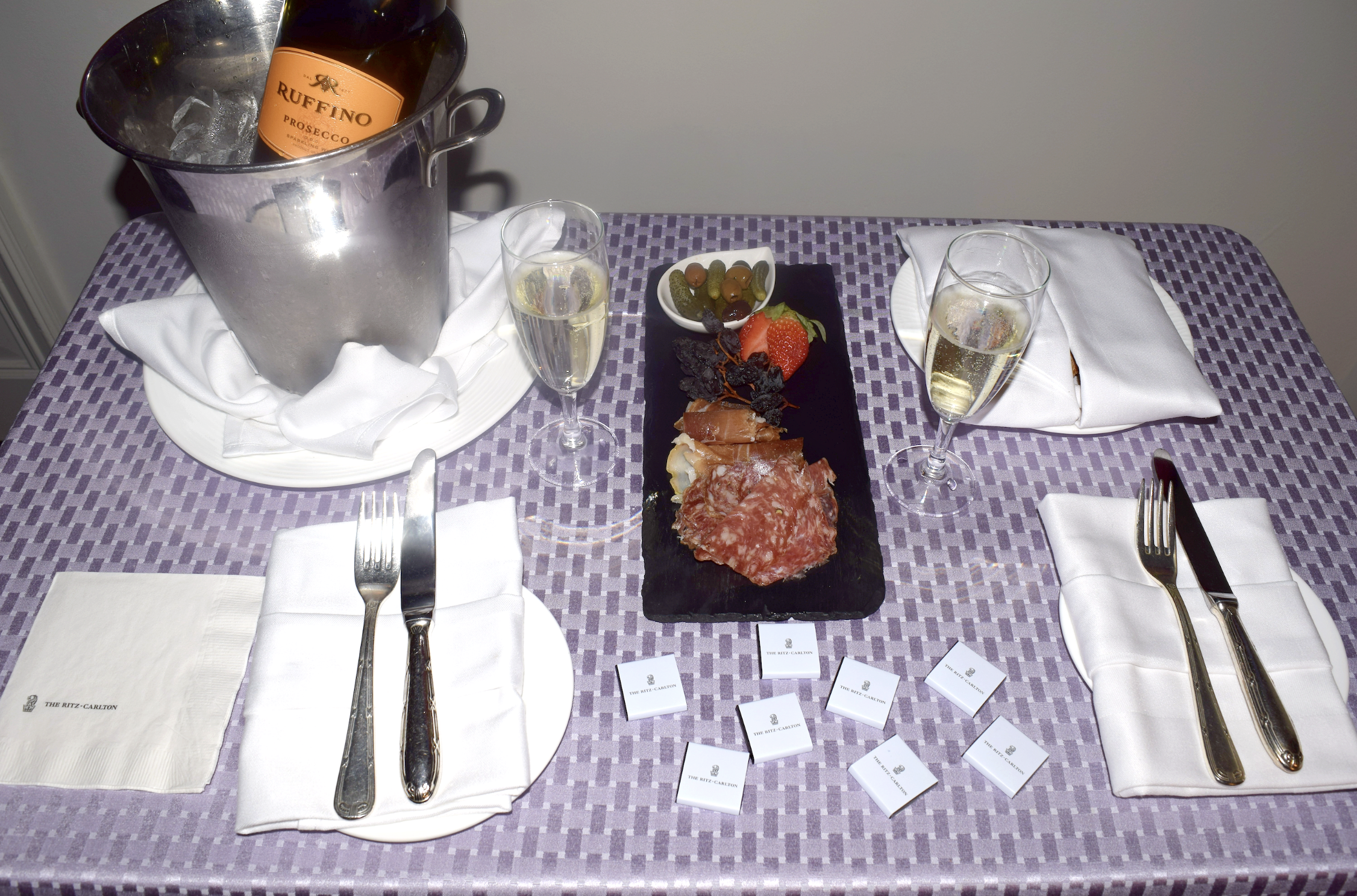 A warm welcome at The Ritz-Carlton Pentagon City where we were served a bottle of sparkling wine and a cheese and charcuterie board upon our arrival.