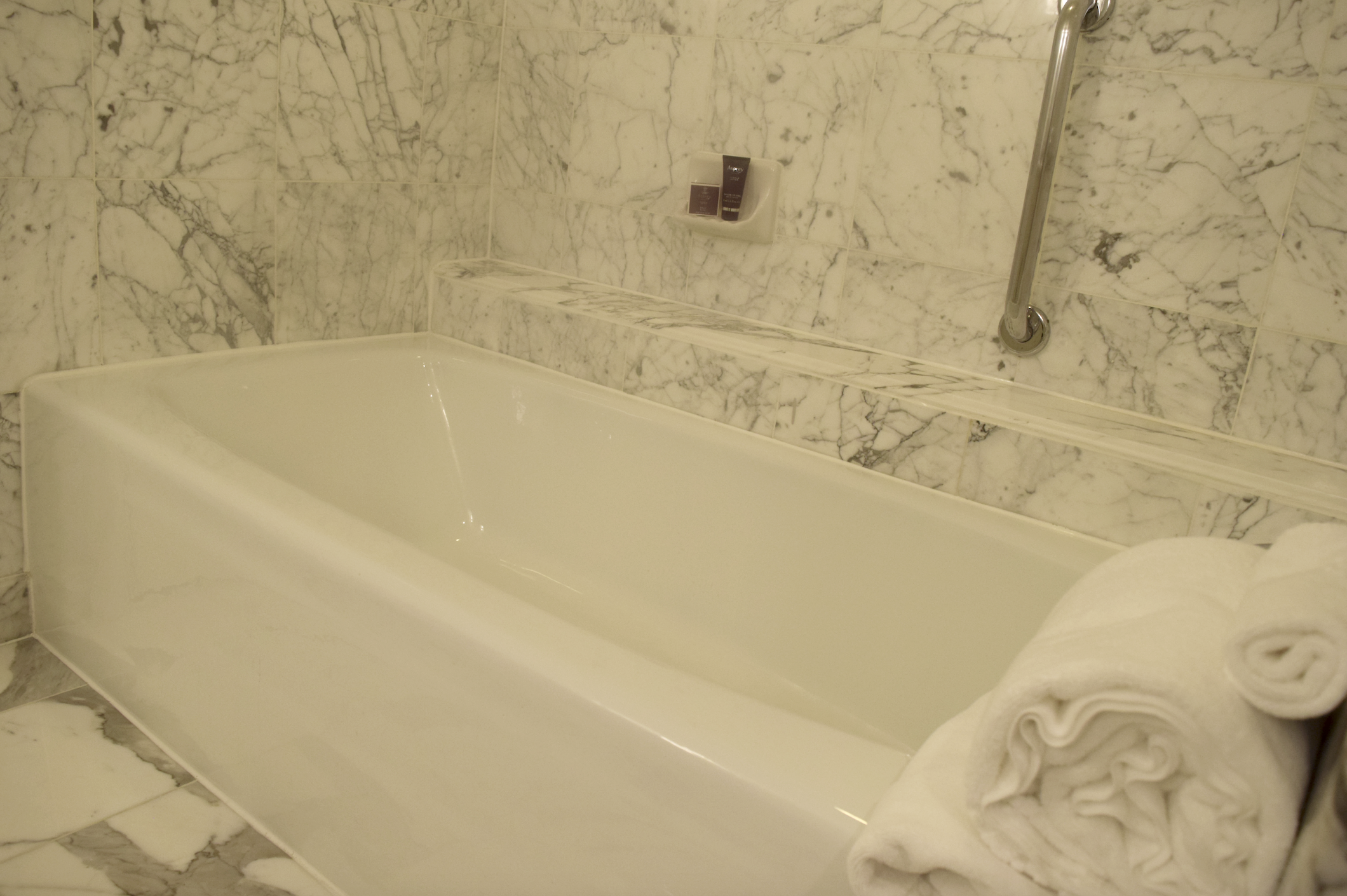 I enjoyed my long soak at this beautiful and luxurious marbled bathtub at The Ritz-Carlton, Pentagon City!
