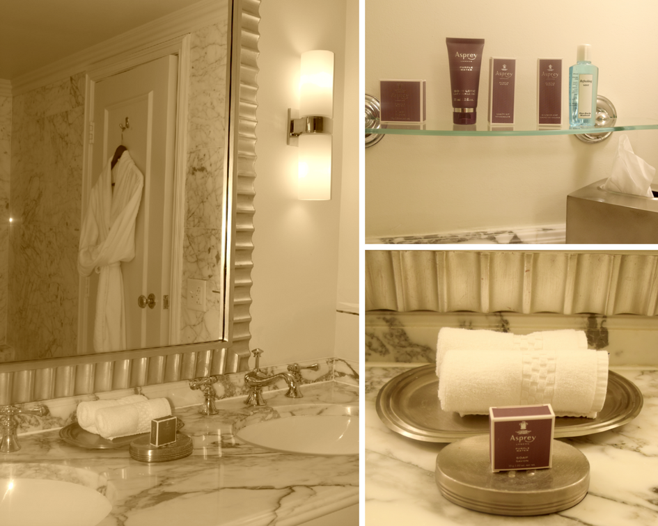 The Executive One Bedroom Suite at The Ritz-Carlton Pentagon City offers beautifully appointed marble bathroom with plush terry robes for guests and luxury Asprey bath essentials.