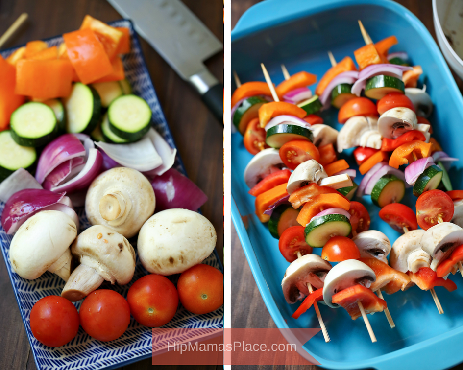 Balsamic Grilled Veggie Kebabs are fresh vegetables skewered and marinated in balsamic vinaigrette - perfect as a summertime side dish or as a meal in itself!