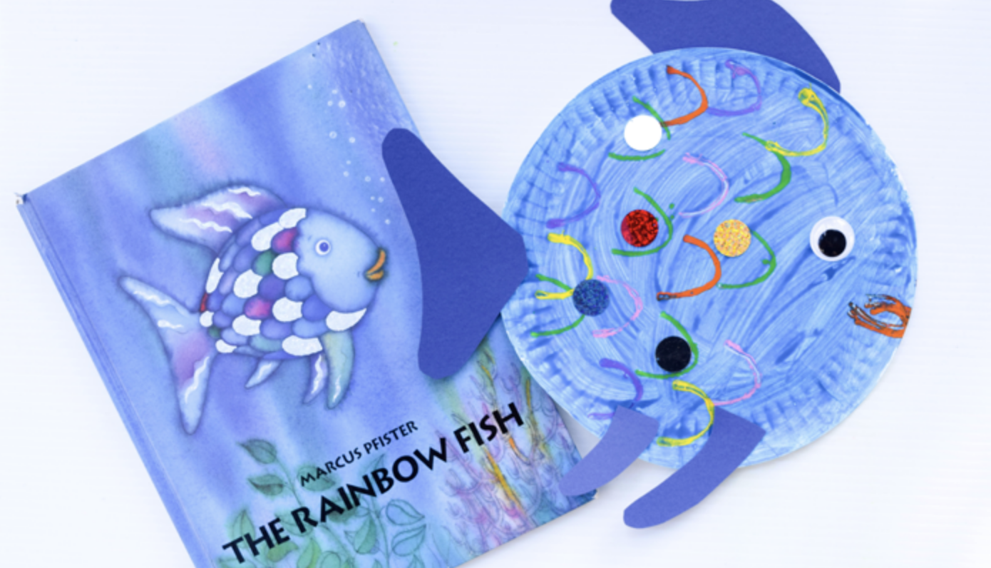 Paper Plate Fish Craft Inspired by the picture book, The Rainbow Fish