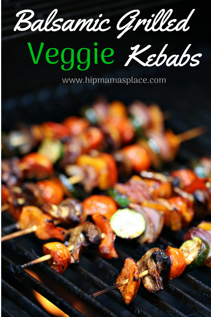 Balsamic Grilled Veggie Kebabs are fresh vegetables skewered and marinated in balsamic vinaigrette - perfect for your next BBQ party!