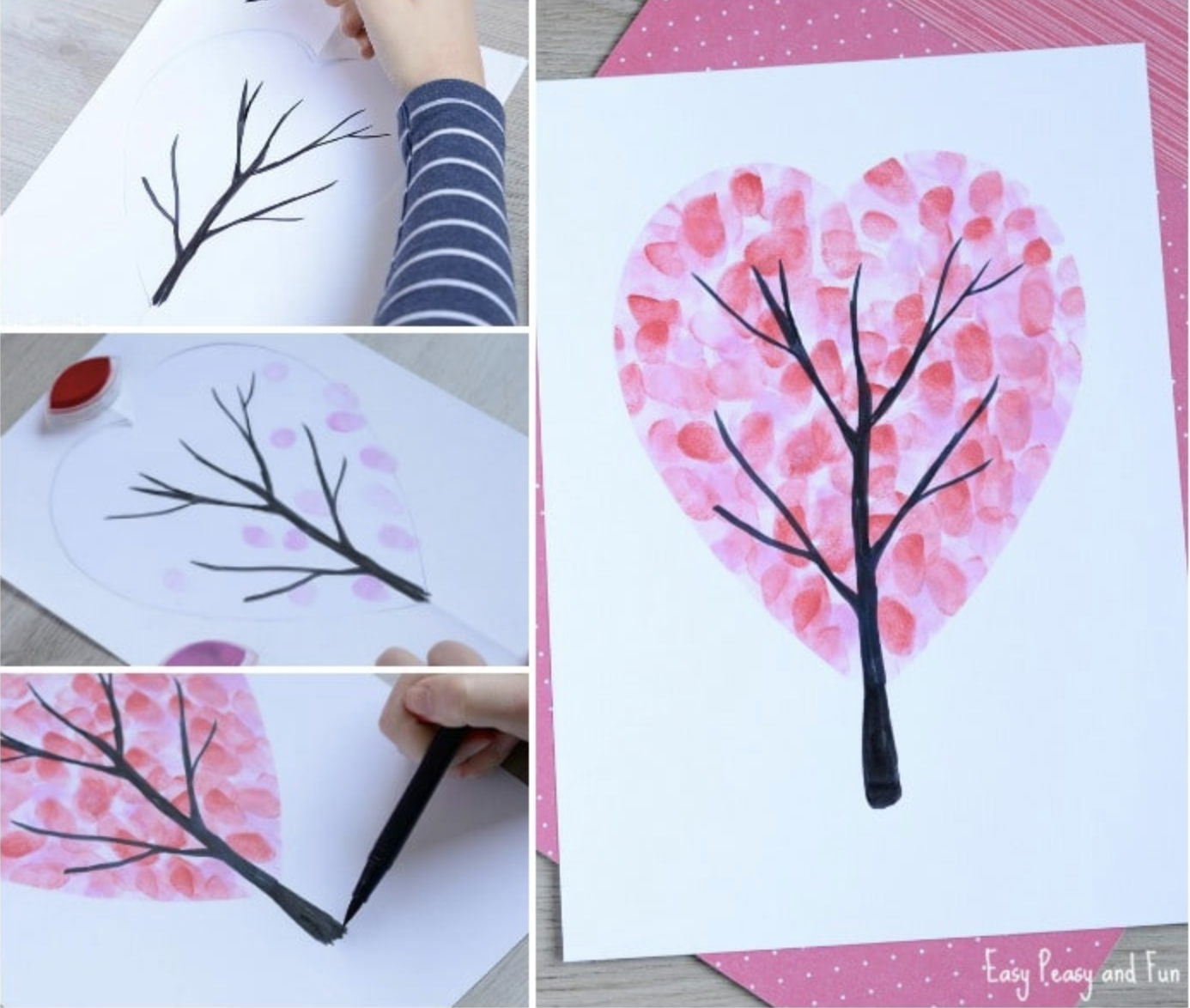 Valentine's Day heart fingerprint trees
