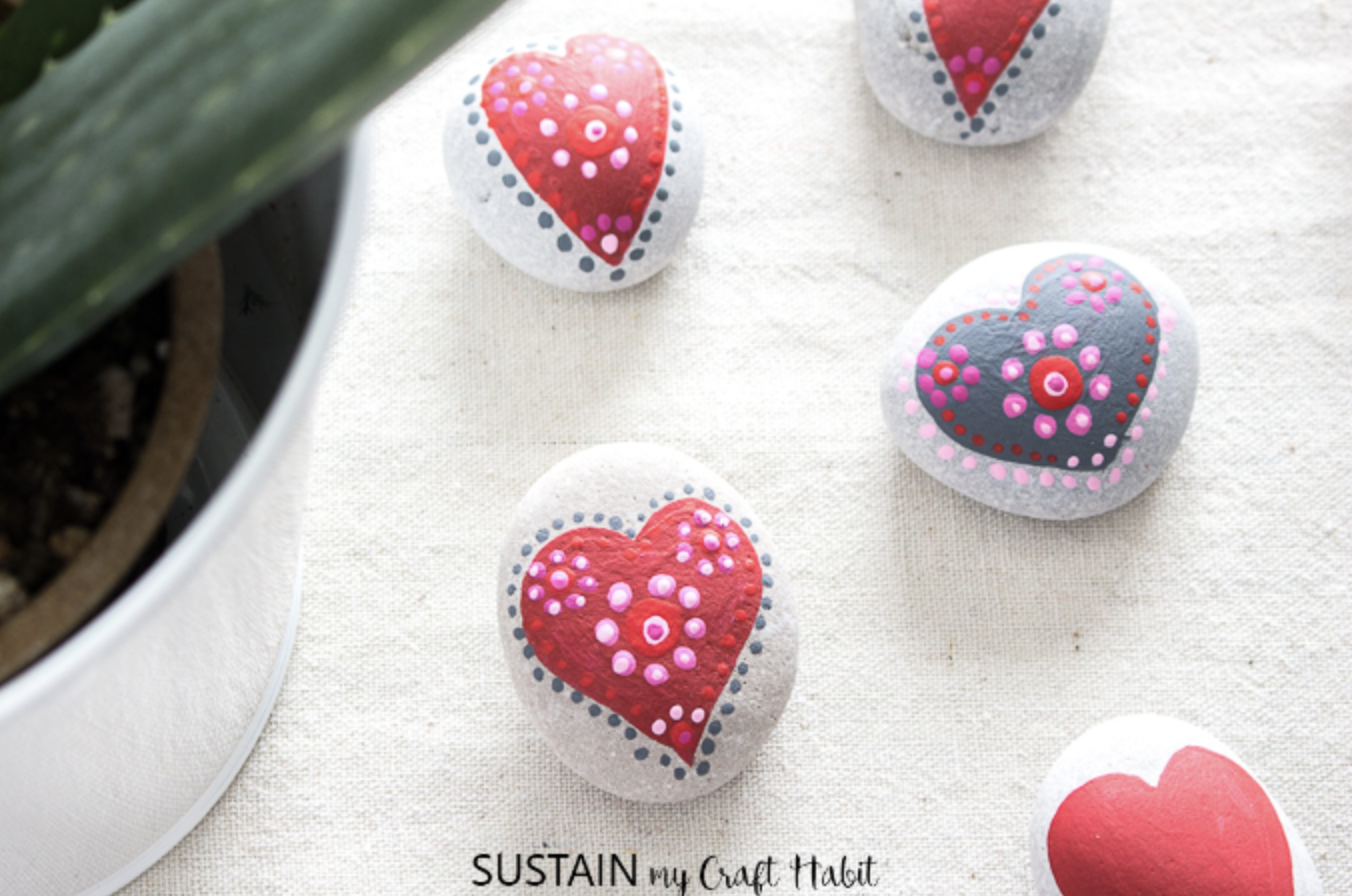 Valentine's Day painted rocks