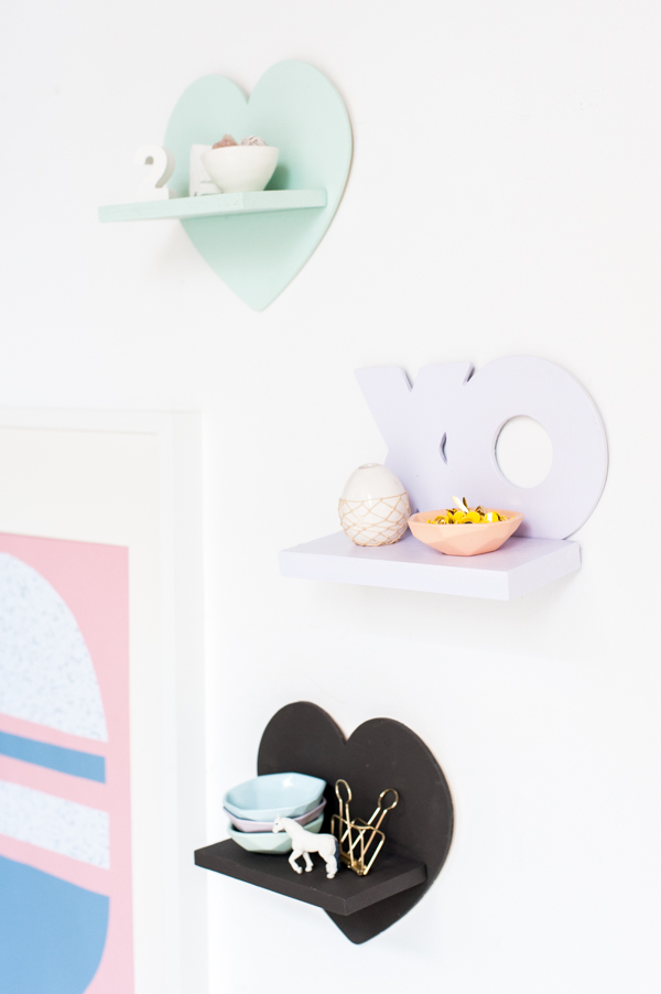 DIY pastel colored mini shelves