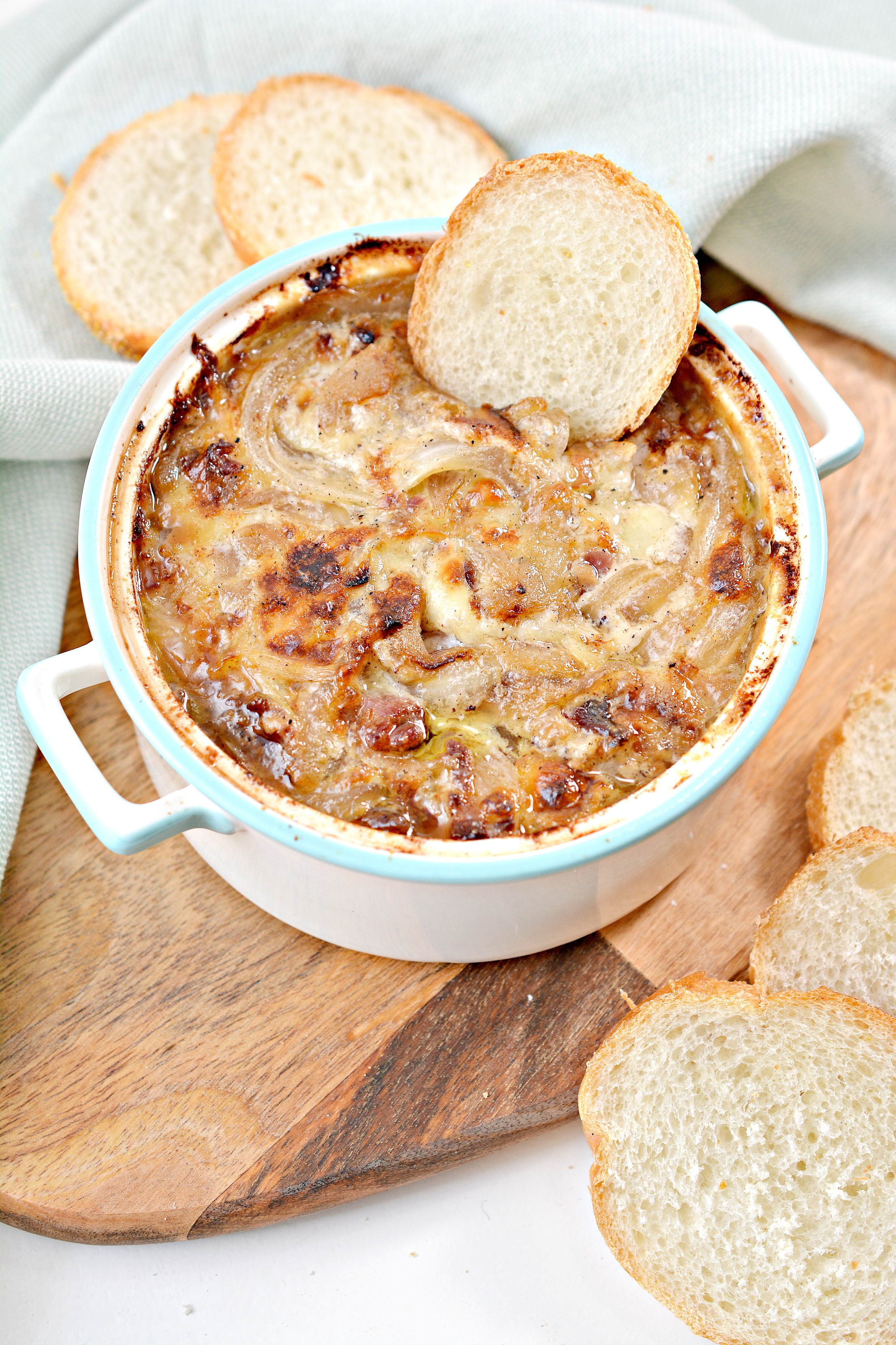 Hot Caramelized Onion and Bacon Dip is the ultimate super easy appetizer to make for any casual get together any time of the year!