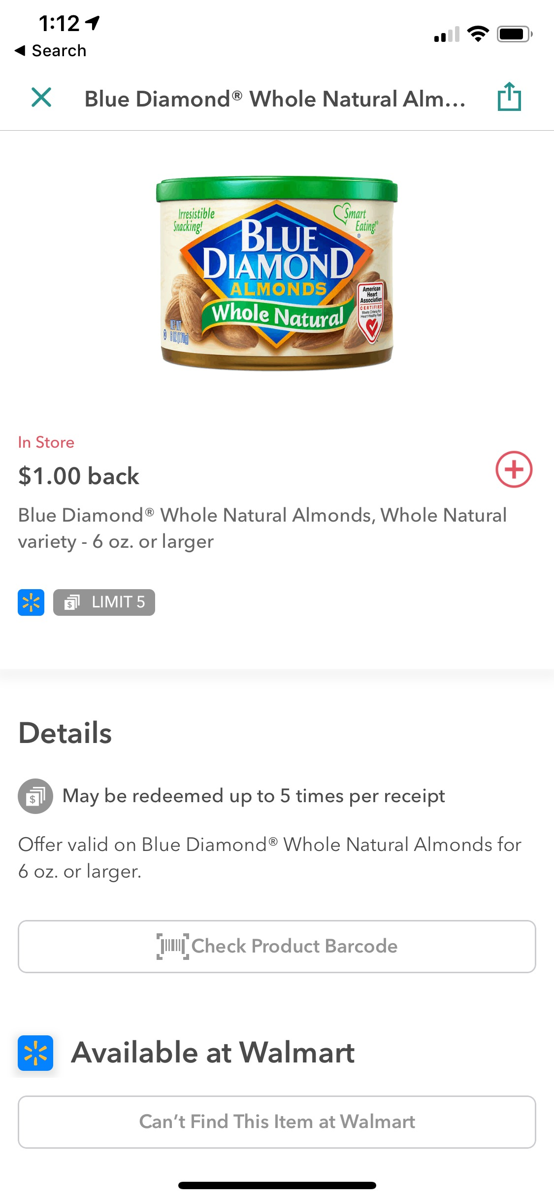 Blue Diamond Whole Natural Almonds Ibotta Offer