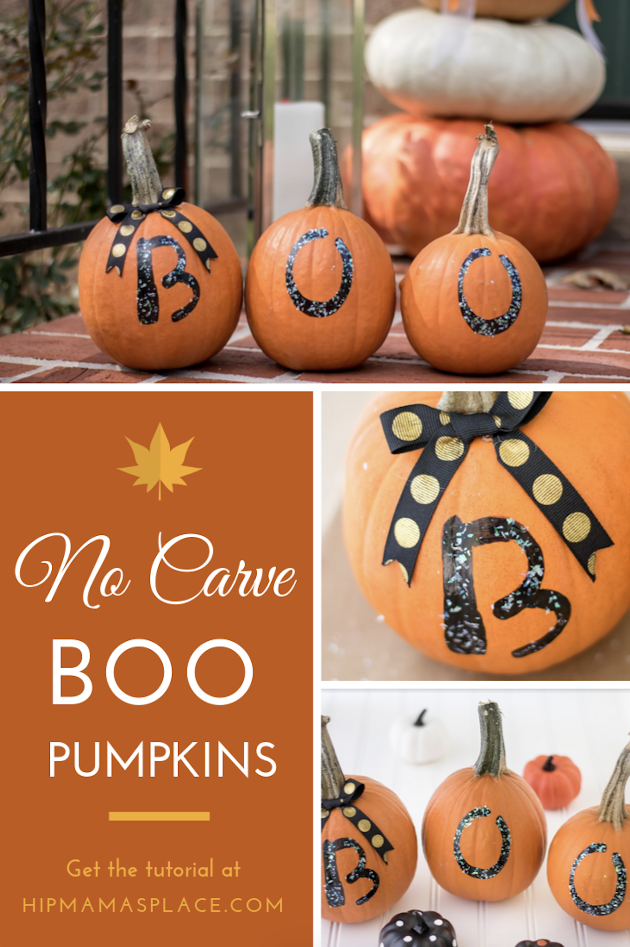 Here\'s a great idea for an easy, fun Fall craft to make with your family: No Carve Boo Pumpkins! Show the spirit of Halloween.. without as much mess! #fall #pumpkins #homedecor #falldecor #pumpkindecor #decorideas #Halloween #Halloweendecor