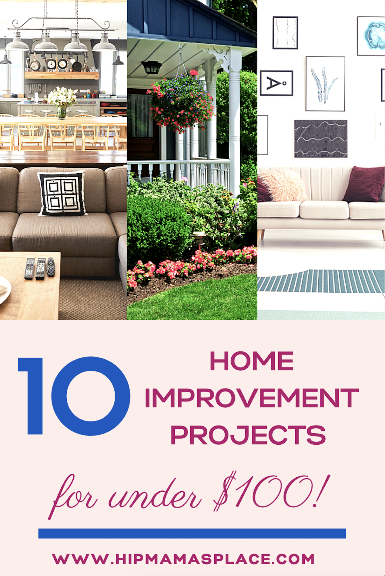 On a tight budget or just don\'t want to spend money on a full home renovation? Read on for 10 home improvement projects you can do for under $100! #homeimprovement #budgetdecor #budgethomeimprovement #diy #diyonabudget #homedecor
