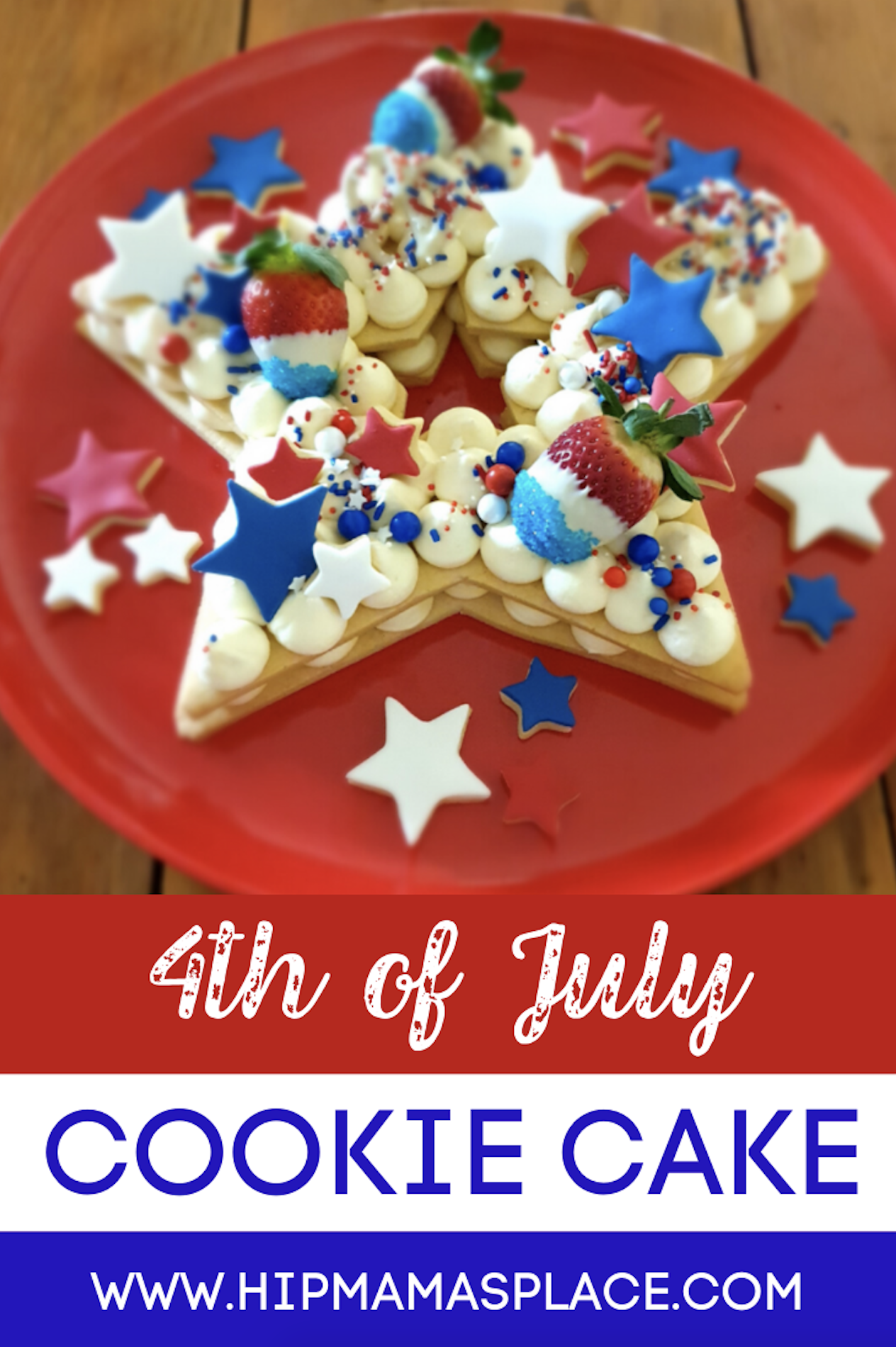 This delicious 4th of July cookie cake is made with 2 large star shaped vanilla cookies, 11 inches tall, layered with a white chocolate cheesecake filling, and topped with small star-shaped cookies with fondant, chocolate strawberries, chocolate pretzels and sprinkles. Brought to you by DoughCuts! #ad #cookiecake #4thofJulycookies #cookies #baking #desserts