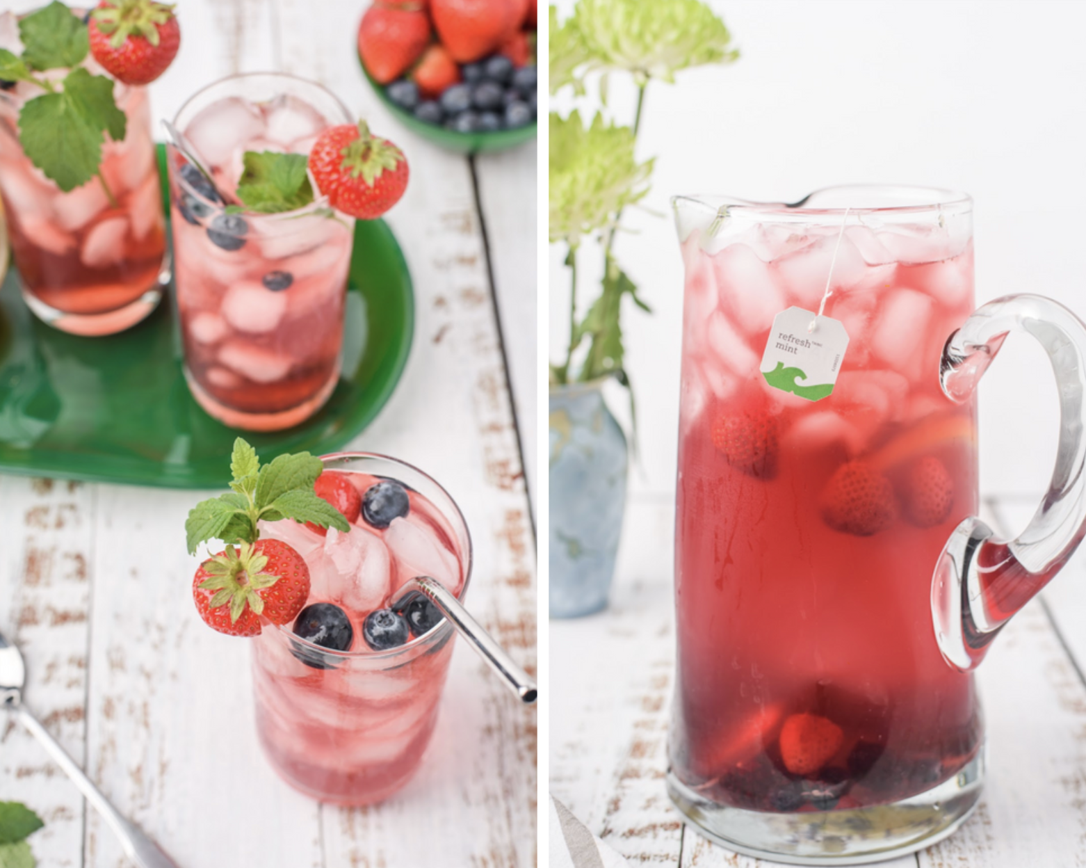 This tasty, refreshing and easy to make ginger mint berry iced tea is perfect for your next family barbecue or any get together this summer!#icedtea #summerdrink #berries #minttea #berrydrink #mintberry #strawberries #foodies #foodblogger #yummy