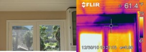 Before and after image of a leak above a French door.