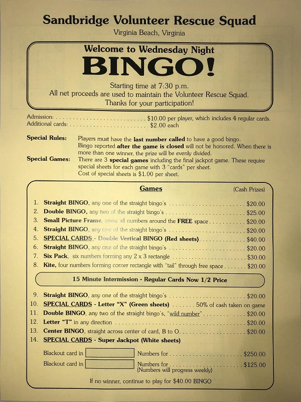 Sandbridge Bingo price list
