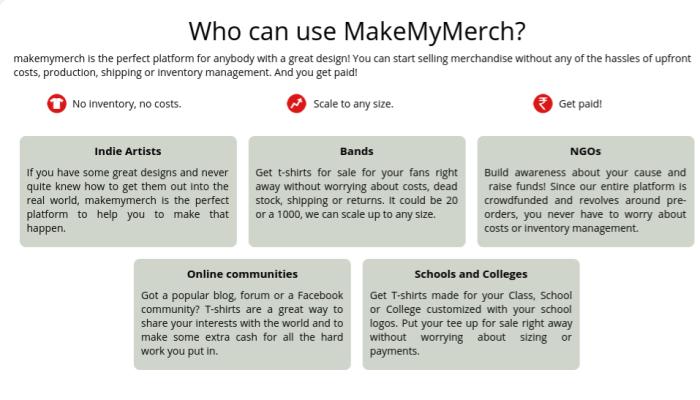 Who can use MakeMyMerch