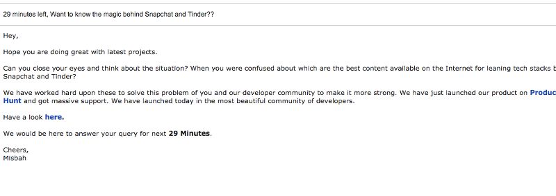 A sample of one email, I have used to get attention :)