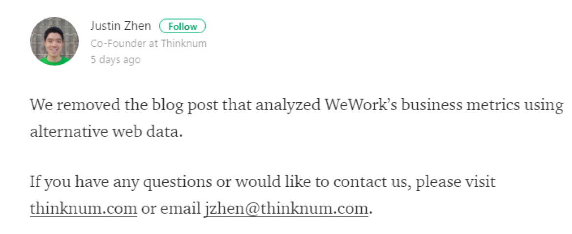 WeWork Controversy- Startup Thinknum Removed After Negative Blogpost