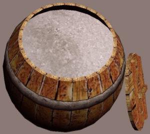 An actual barrel full of salt.