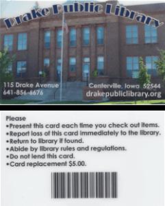 Drake Public Library card
